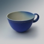 Milchkaffee-Tasse in blau/gold